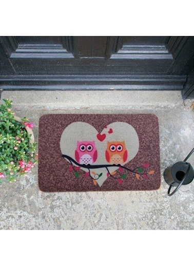 Giz Home Giz Home Boyalı/Megan 40X60 Çift Baykuş Desenli Renkli Kapı Paspası Renkli